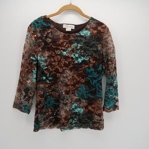 Dress Barn Floral Scoop Neck 3/4 Sleeve Top Blouse